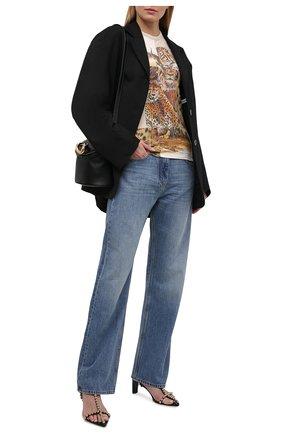 Женская хлопковая футболка STELLA MCCARTNEY бежевого цвета, арт. 602902/S0W54 | Фото 2 (Длина (для топов): Стандартные; Материал внешний: Хлопок; Рукава: Короткие; Женское Кросс-КТ: Футболка-одежда; Принт: С принтом; Стили: Спорт-шик)