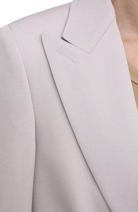 Женский шерстяной жакет STELLA MCCARTNEY светло-серого цвета, арт. 602875/SPA28 | Фото 5 (Материал внешний: Шерсть; Рукава: Длинные; Случай: Повседневный; Длина (для топов): Стандартные; 1-2-бортные: Однобортные; Материал подклада: Вискоза; Женское Кросс-КТ: Жакет-одежда; Стили: Кэжуэл)