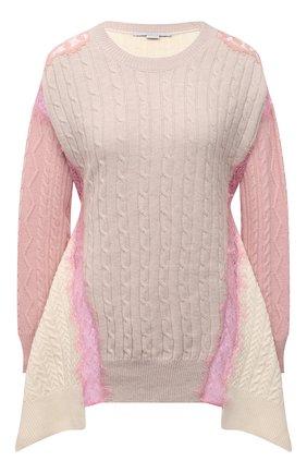 Женский шерстяной свитер STELLA MCCARTNEY светло-розового цвета, арт. 602866/S2237 | Фото 1 (Рукава: Длинные; Материал внешний: Шерсть; Длина (для топов): Стандартные; Стили: Бохо; Женское Кросс-КТ: Свитер-одежда)