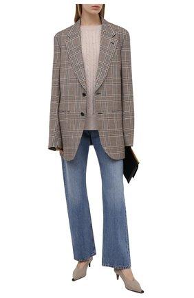 Женский шерстяной свитер STELLA MCCARTNEY светло-розового цвета, арт. 602866/S2237 | Фото 2 (Рукава: Длинные; Материал внешний: Шерсть; Длина (для топов): Стандартные; Стили: Бохо; Женское Кросс-КТ: Свитер-одежда)