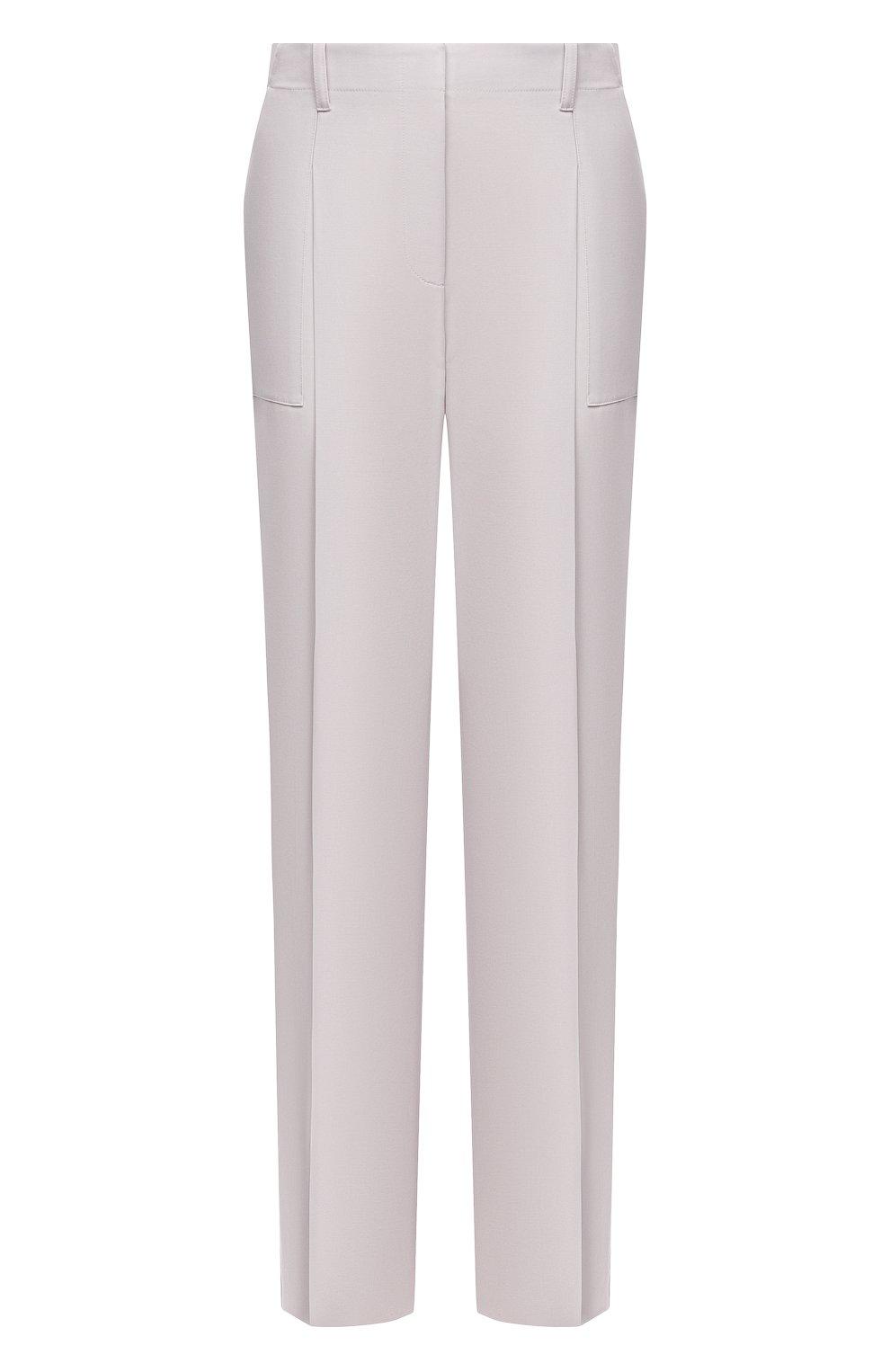 Женские шерстяные брюки STELLA MCCARTNEY светло-серого цвета, арт. 602439/SPA28 | Фото 1 (Длина (брюки, джинсы): Удлиненные; Материал внешний: Шерсть; Женское Кросс-КТ: Брюки-одежда; Силуэт Ж (брюки и джинсы): Прямые; Стили: Кэжуэл)