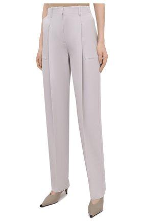 Женские шерстяные брюки STELLA MCCARTNEY светло-серого цвета, арт. 602439/SPA28 | Фото 3 (Длина (брюки, джинсы): Удлиненные; Материал внешний: Шерсть; Женское Кросс-КТ: Брюки-одежда; Силуэт Ж (брюки и джинсы): Прямые; Стили: Кэжуэл)