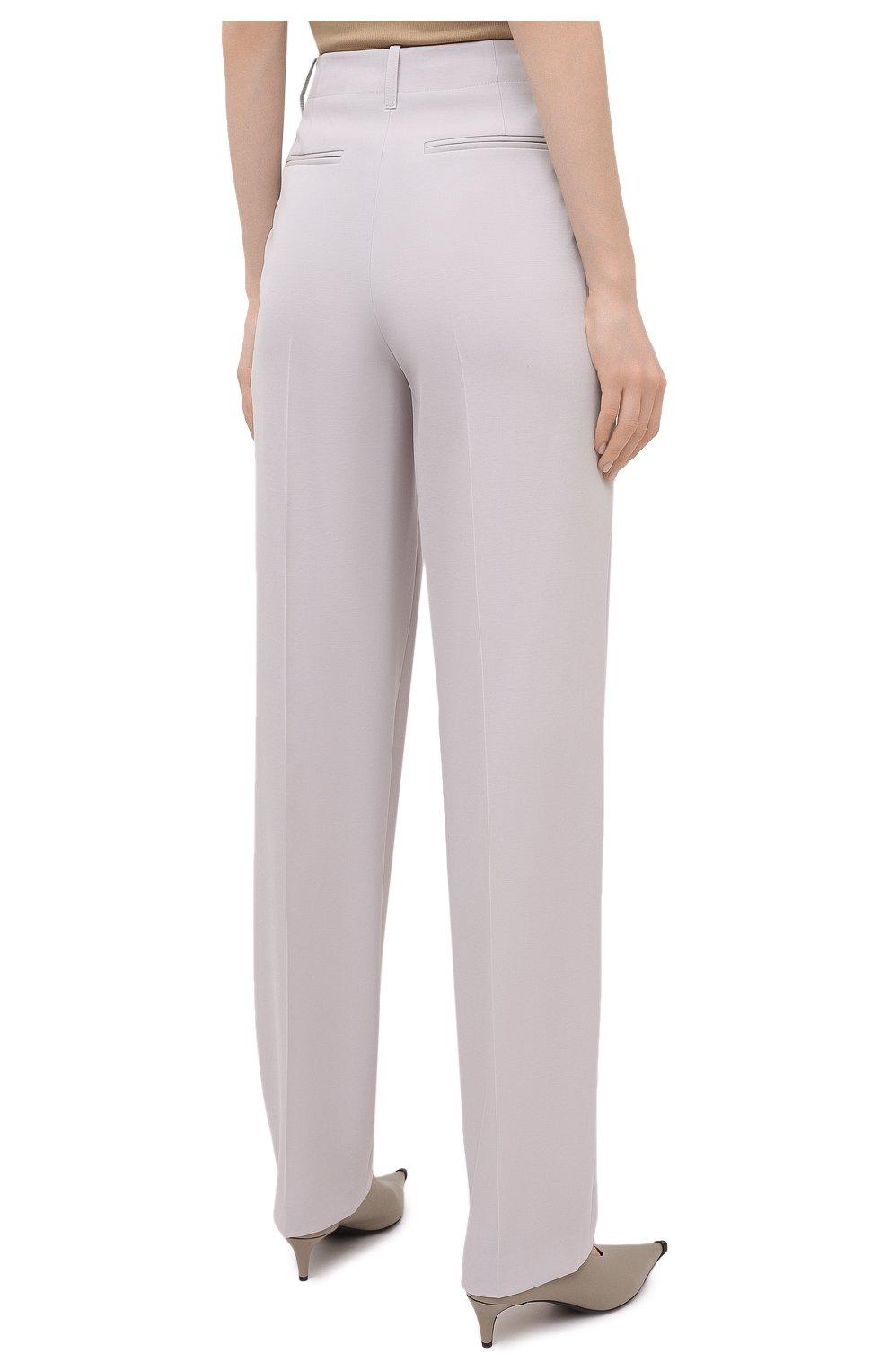Женские шерстяные брюки STELLA MCCARTNEY светло-серого цвета, арт. 602439/SPA28 | Фото 4 (Длина (брюки, джинсы): Удлиненные; Материал внешний: Шерсть; Женское Кросс-КТ: Брюки-одежда; Силуэт Ж (брюки и джинсы): Прямые; Стили: Кэжуэл)