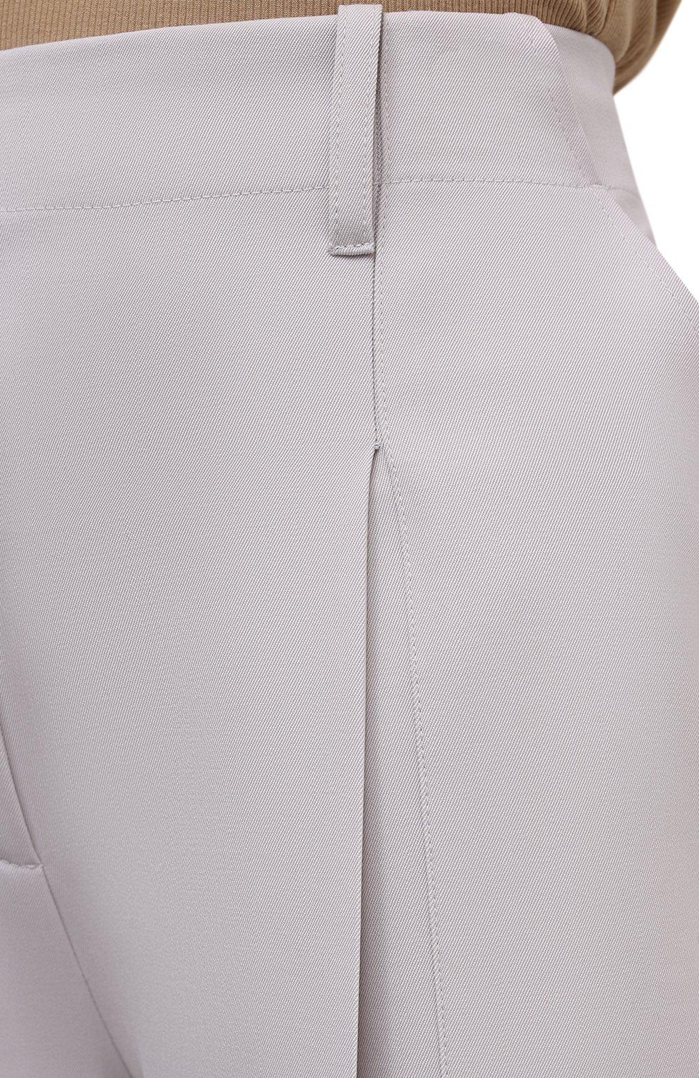 Женские шерстяные брюки STELLA MCCARTNEY светло-серого цвета, арт. 602439/SPA28 | Фото 5 (Длина (брюки, джинсы): Удлиненные; Материал внешний: Шерсть; Женское Кросс-КТ: Брюки-одежда; Силуэт Ж (брюки и джинсы): Прямые; Стили: Кэжуэл)