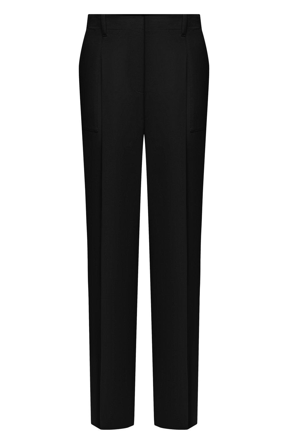 Женские шерстяные брюки STELLA MCCARTNEY черного цвета, арт. 602439/SPA28 | Фото 1 (Длина (брюки, джинсы): Удлиненные; Материал внешний: Шерсть; Женское Кросс-КТ: Брюки-одежда; Силуэт Ж (брюки и джинсы): Прямые; Стили: Кэжуэл)