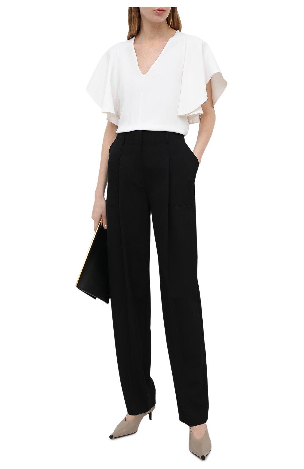 Женские шерстяные брюки STELLA MCCARTNEY черного цвета, арт. 602439/SPA28 | Фото 2 (Длина (брюки, джинсы): Удлиненные; Материал внешний: Шерсть; Женское Кросс-КТ: Брюки-одежда; Силуэт Ж (брюки и джинсы): Прямые; Стили: Кэжуэл)