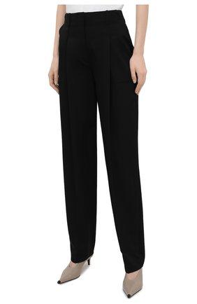 Женские шерстяные брюки STELLA MCCARTNEY черного цвета, арт. 602439/SPA28 | Фото 3 (Длина (брюки, джинсы): Удлиненные; Материал внешний: Шерсть; Женское Кросс-КТ: Брюки-одежда; Силуэт Ж (брюки и джинсы): Прямые; Стили: Кэжуэл)