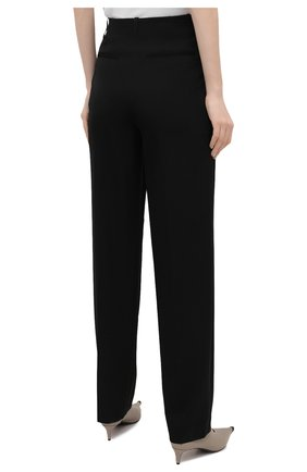 Женские шерстяные брюки STELLA MCCARTNEY черного цвета, арт. 602439/SPA28 | Фото 4 (Длина (брюки, джинсы): Удлиненные; Материал внешний: Шерсть; Женское Кросс-КТ: Брюки-одежда; Силуэт Ж (брюки и джинсы): Прямые; Стили: Кэжуэл)