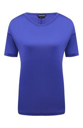 Женская шелковая футболка TOM FORD синего цвета, арт. TSJ383-FAX835 | Фото 1 (Длина (для топов): Стандартные; Материал внешний: Шелк; Принт: Без принта; Рукава: Короткие; Стили: Кэжуэл; Женское Кросс-КТ: Футболка-одежда)