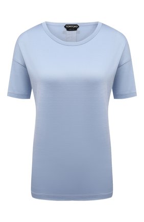 Женская шелковая футболка TOM FORD светло-голубого цвета, арт. TSJ383-FAX835   Фото 1