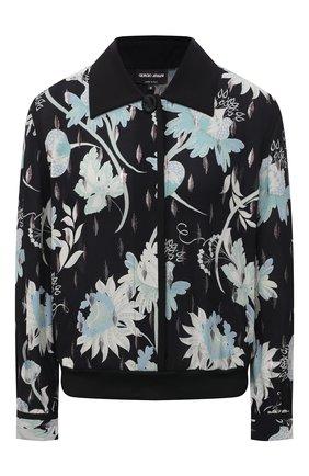 Женская шелковая рубашка GIORGIO ARMANI черного цвета, арт. 1SHCCZ15/TZ789 | Фото 1