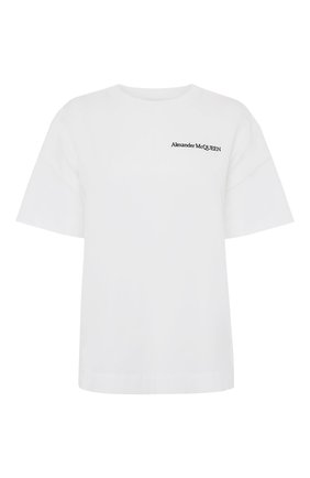 Женская хлопковая футболка ALEXANDER MCQUEEN белого цвета, арт. 653731/QLAA6 | Фото 1