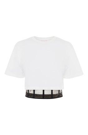 Женский хлопковый топ ALEXANDER MCQUEEN белого цвета, арт. 653743/QLAA6 | Фото 1