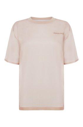 Женская шелковая футболка ALEXANDER MCQUEEN светло-розового цвета, арт. 654002/QLAAA | Фото 1