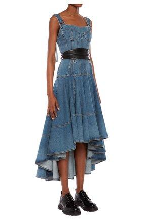 Женское джинсовое платье ALEXANDER MCQUEEN синего цвета, арт. 654852/QMABC | Фото 1