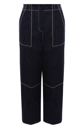 Женские хлопковые брюки ALEXANDER MCQUEEN темно-синего цвета, арт. 656994/QFAAJ | Фото 1