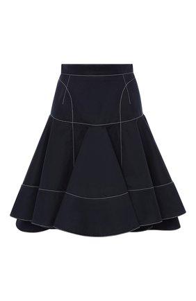 Женская хлопковая юбка ALEXANDER MCQUEEN темно-синего цвета, арт. 657135/QFAAJ | Фото 1