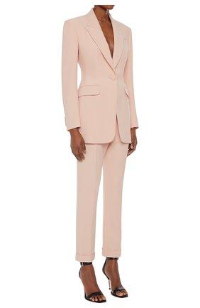 Женские брюки из вискозы ALEXANDER MCQUEEN светло-розового цвета, арт. 657148/QEAAA | Фото 2