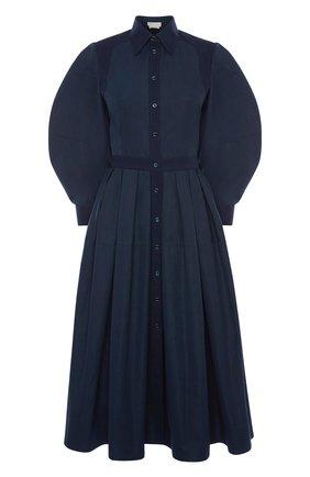 Женское хлопковое платье ALEXANDER MCQUEEN темно-синего цвета, арт. 657348/QAAAY | Фото 1