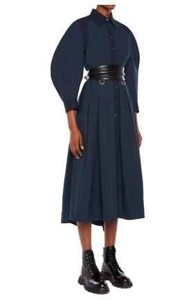 Женское хлопковое платье ALEXANDER MCQUEEN темно-синего цвета, арт. 657348/QAAAY | Фото 2