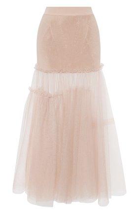 Женская юбка из вискозы ALEXANDER MCQUEEN розового цвета, арт. 659530/Q1AUK | Фото 1