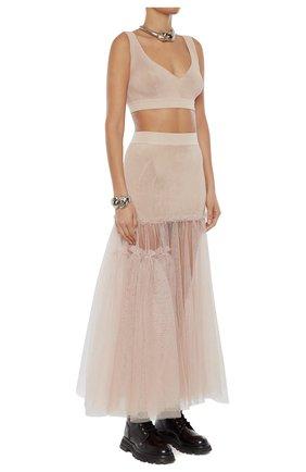 Женская юбка из вискозы ALEXANDER MCQUEEN розового цвета, арт. 659530/Q1AUK | Фото 2