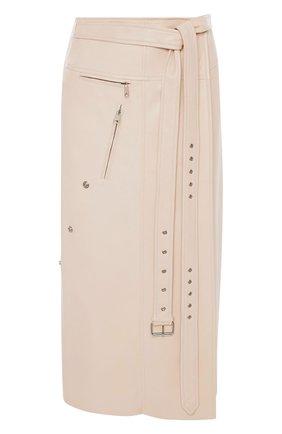 Женская замшевая юбка ALEXANDER MCQUEEN бежевого цвета, арт. 659798/Q5AGE | Фото 1