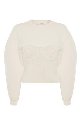 Женский шерстяной пуловер ALEXANDER MCQUEEN бежевого цвета, арт. 659949/Q1AUM | Фото 1