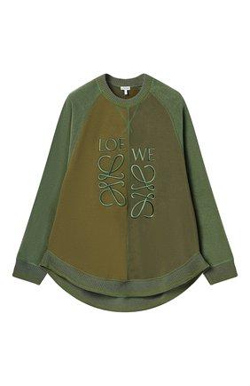 Женский хлопковый свитшот LOEWE зеленого цвета, арт. S540Y24J01/ | Фото 1
