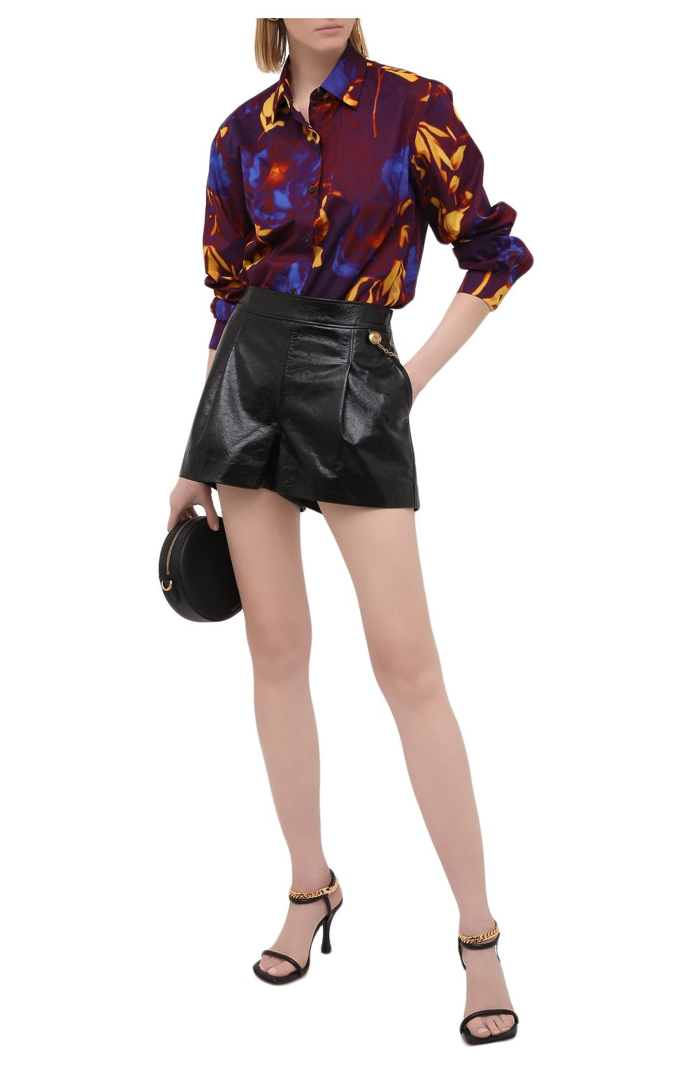 Женские кожаные шорты GIVENCHY черного цвета, арт. BW50NP60HU | Фото 2