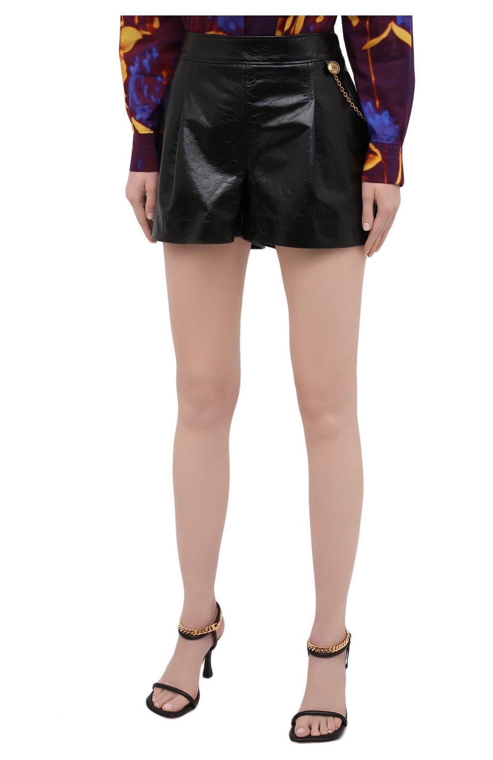 Женские кожаные шорты GIVENCHY черного цвета, арт. BW50NP60HU | Фото 3