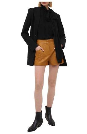 Женские кожаные шорты SAINT LAURENT светло-коричневого цвета, арт. 649125/YCDJ2 | Фото 2