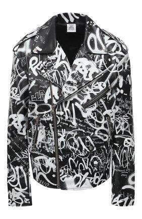 Женская кожаная куртка VETEMENTS черно-белого цвета, арт. UE51JA750BL 2470/W | Фото 1