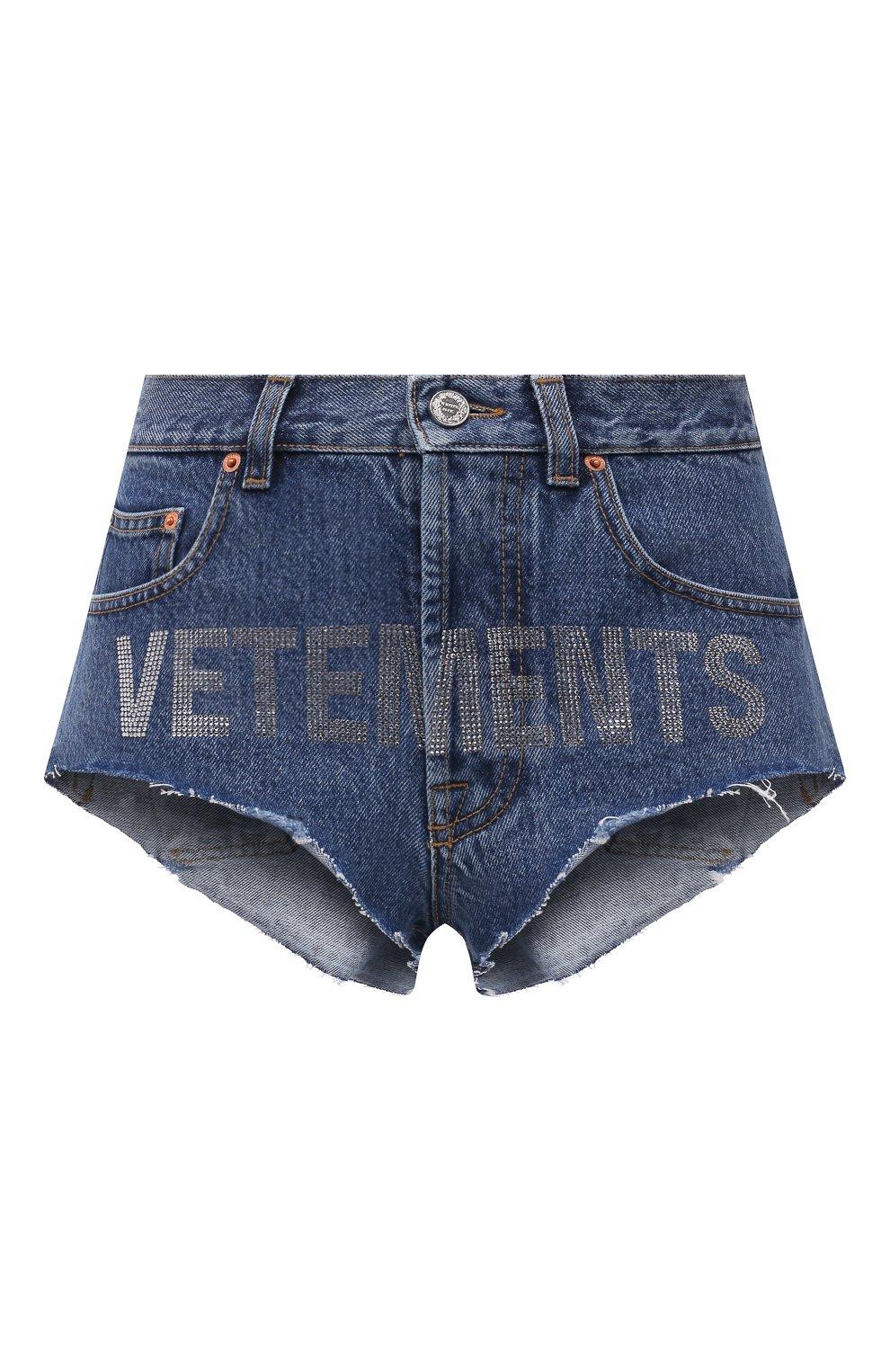 Женские джинсовые шорты VETEMENTS синего цвета, арт. WE51PA310B 2803/BLUE | Фото 1 (Женское Кросс-КТ: Шорты-одежда; Кросс-КТ: Деним; Длина Ж (юбки, платья, шорты): Мини; Стили: Гранж; Материал внешний: Хлопок)