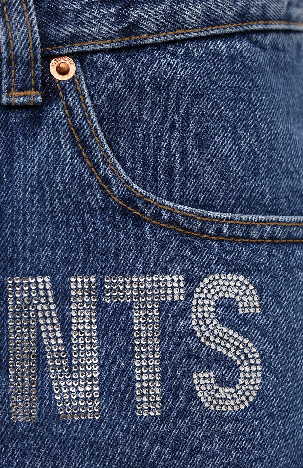 Женские джинсовые шорты VETEMENTS синего цвета, арт. WE51PA310B 2803/BLUE | Фото 5 (Женское Кросс-КТ: Шорты-одежда; Кросс-КТ: Деним; Длина Ж (юбки, платья, шорты): Мини; Стили: Гранж; Материал внешний: Хлопок)