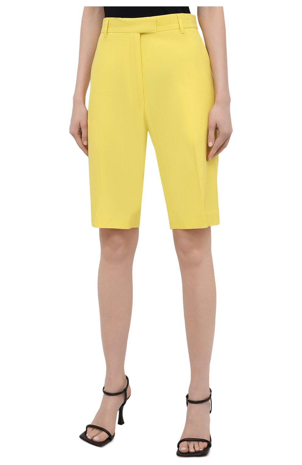 Женские шорты из хлопка и вискозы DRIES VAN NOTEN желтого цвета, арт. 211-10906-2109 | Фото 3