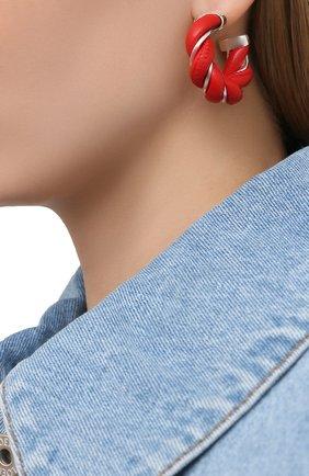 Женские серьги BOTTEGA VENETA красного цвета, арт. 628948/V507C   Фото 2