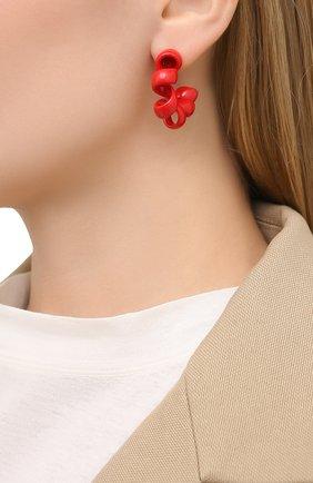 Женские серьги BOTTEGA VENETA красного цвета, арт. 649312/VAHU4   Фото 2