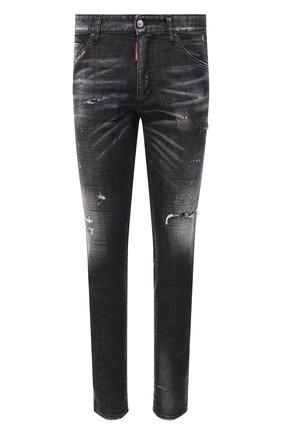 Мужские джинсы DSQUARED2 темно-серого цвета, арт. S74LB0878/S30357 | Фото 1 (Длина (брюки, джинсы): Стандартные; Кросс-КТ: Деним; Силуэт М (брюки): Прямые; Детали: Потертости; Материал внешний: Хлопок; Стили: Гранж)