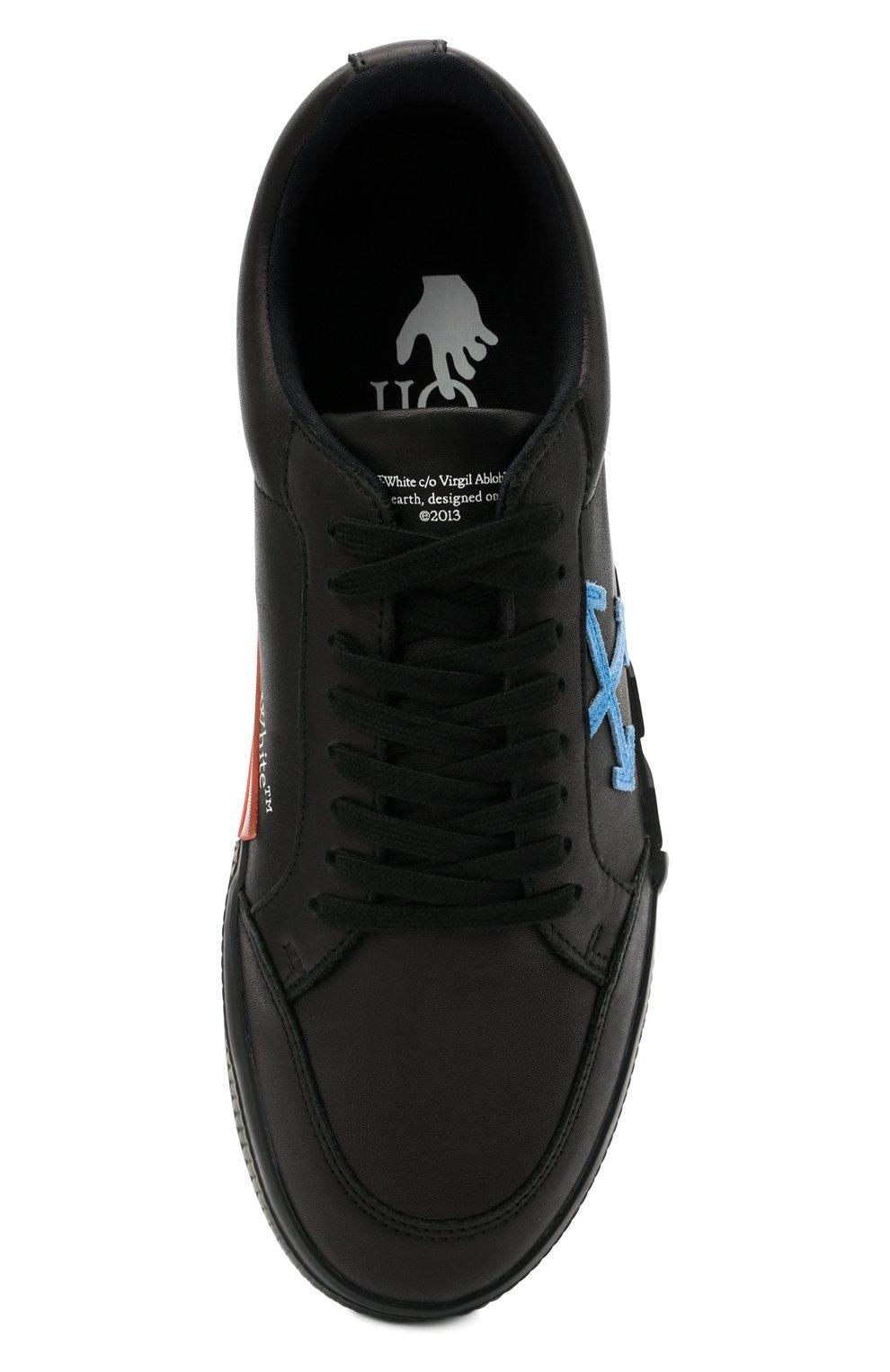 Мужские кожаные кеды vulcanized OFF-WHITE черного цвета, арт. 0MIA085R21LEA0011045   Фото 5 (Материал внутренний: Текстиль; Подошва: Массивная)