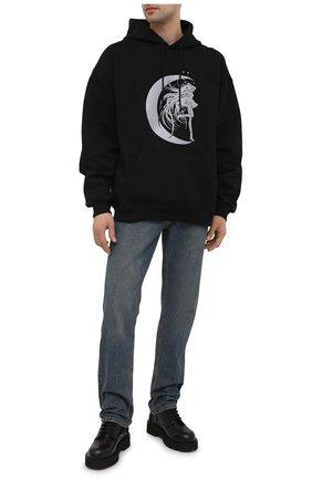 Мужской хлопковое худи VETEMENTS черного цвета, арт. UE51TR750B 1604/M   Фото 2