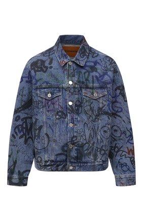 Мужская джинсовая куртка VETEMENTS синего цвета, арт. UE51JA940B 2803/M | Фото 1 (Длина (верхняя одежда): Короткие; Стили: Гранж; Кросс-КТ: Куртка, Деним; Материал внешний: Хлопок; Рукава: Длинные)