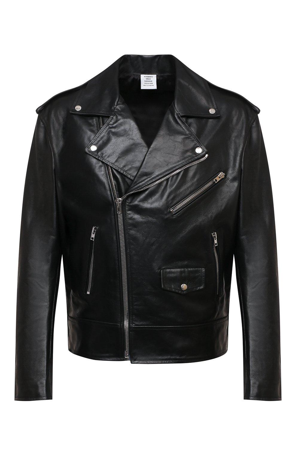 Мужская кожаная куртка VETEMENTS черного цвета, арт. UE51JA800WL 2470/M   Фото 1 (Кросс-КТ: Куртка; Рукава: Длинные; Стили: Гранж; Мужское Кросс-КТ: Кожа и замша; Длина (верхняя одежда): Короткие; Материал подклада: Вискоза)