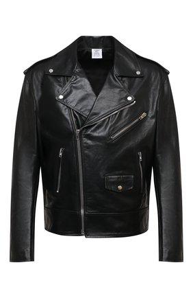 Мужская кожаная куртка VETEMENTS черного цвета, арт. UE51JA800WL 2470/M | Фото 1