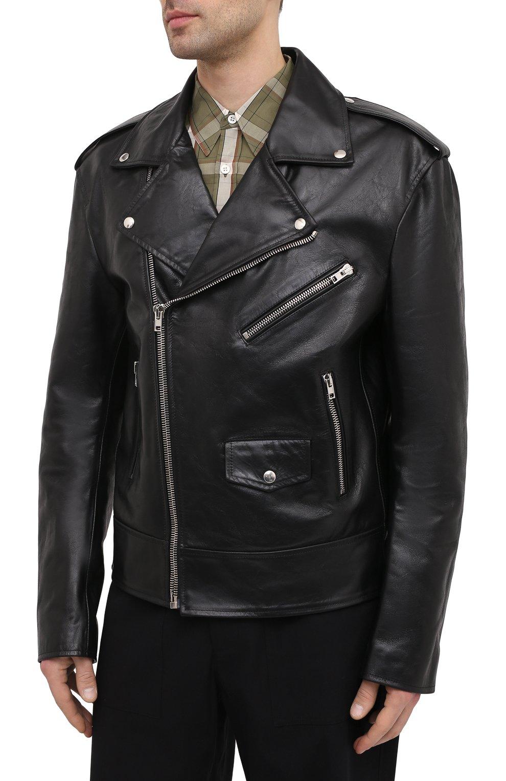 Мужская кожаная куртка VETEMENTS черного цвета, арт. UE51JA800WL 2470/M   Фото 3 (Кросс-КТ: Куртка; Рукава: Длинные; Стили: Гранж; Мужское Кросс-КТ: Кожа и замша; Длина (верхняя одежда): Короткие; Материал подклада: Вискоза)