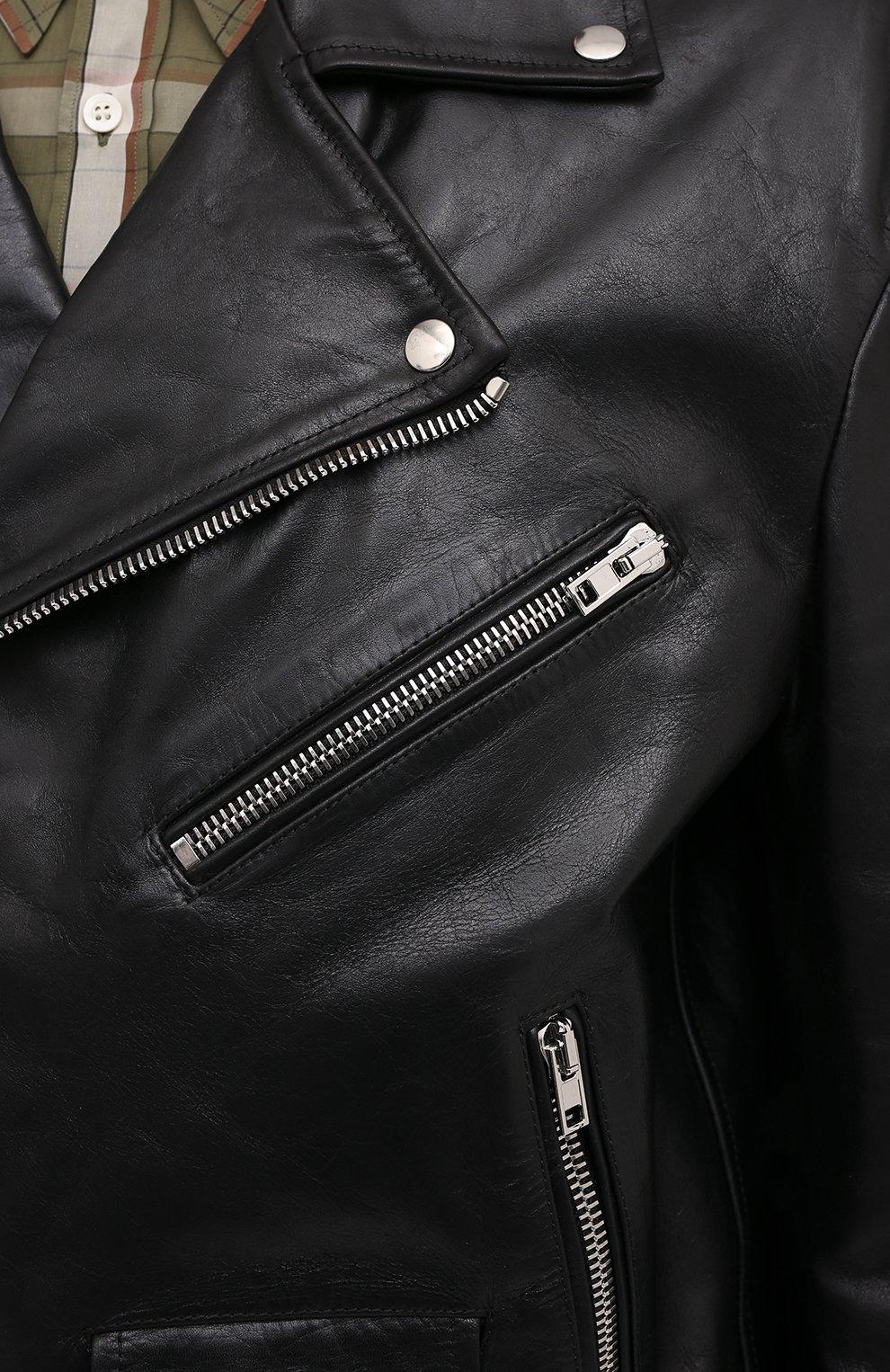 Мужская кожаная куртка VETEMENTS черного цвета, арт. UE51JA800WL 2470/M   Фото 5 (Кросс-КТ: Куртка; Рукава: Длинные; Стили: Гранж; Мужское Кросс-КТ: Кожа и замша; Длина (верхняя одежда): Короткие; Материал подклада: Вискоза)