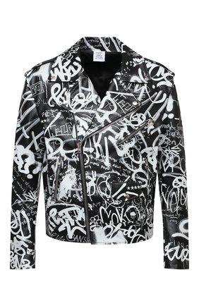 Мужская кожаная куртка VETEMENTS черно-белого цвета, арт. UE51JA750BL 2470/M | Фото 1