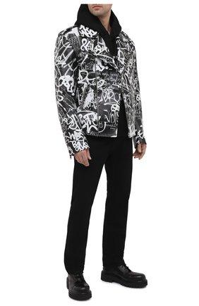 Мужская кожаная куртка VETEMENTS черно-белого цвета, арт. UE51JA750BL 2470/M | Фото 2