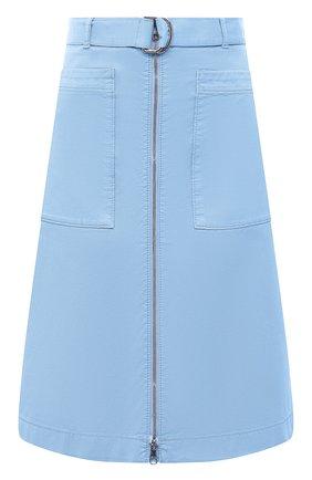 Женская хлопковая юбка BOSS голубого цвета, арт. 50448177 | Фото 1