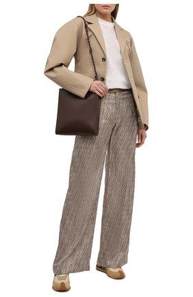 Женские шелковые брюки CHLOÉ коричневого цвета, арт. CHC21SPA88350 | Фото 2